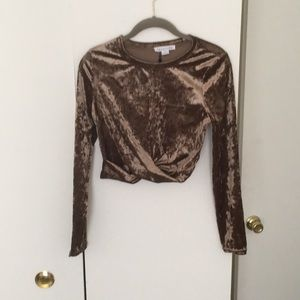 Crushes brown velvet crop top